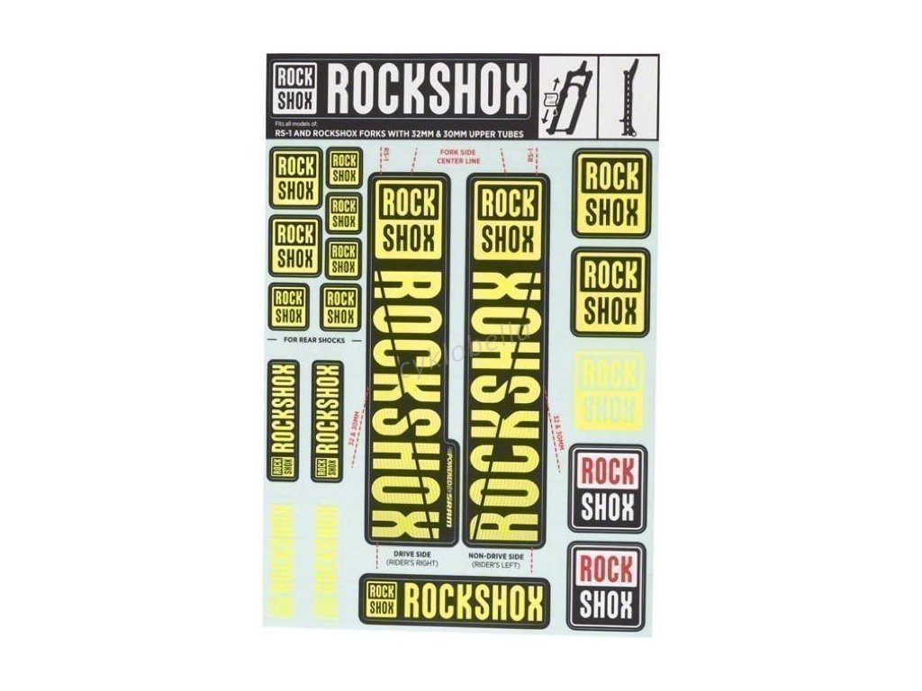 ROCKSHOX DECAL KIT 35MM NE01 YELLOW