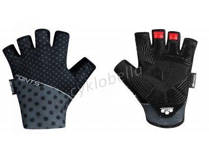 rukavice FORCE POINTS bez zapínání,černo-šedé S