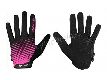 rukavice FORCE MTB ANGLE letní, růžovo-černé L