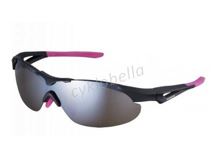 SHIMANO brýle S40RS, černá/růžová, skla zrcadlově hnědá, čirá