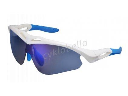SHIMANO brýle S50R, bílá/modrá, skla zrcadlově modrá