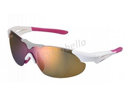 SHIMANO brýle S40RS, bílá/růžová, skla kouřová červená zrcadlová