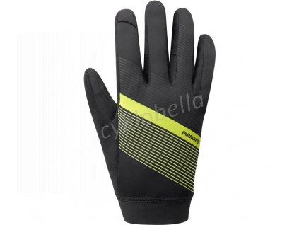 SHIMANO WIND CONTROL rukavice (10°C), neonově žlutá, L
