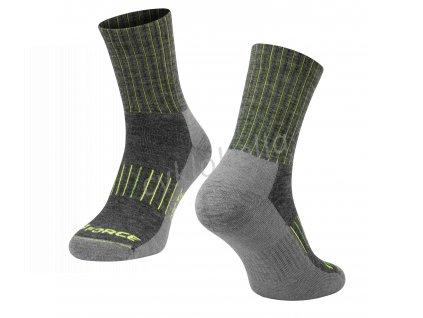 ponožky FORCE ARCTIC, šedo-fluo S-M/36-41