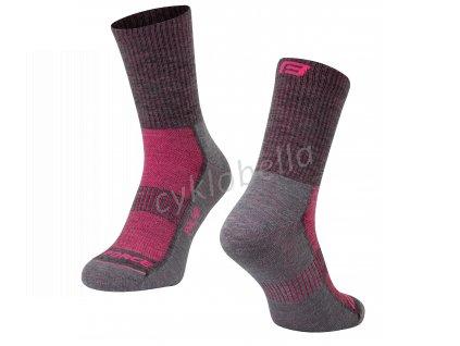 ponožky FORCE POLAR, šedo-růžové S-M/36-41