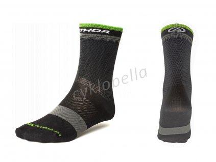 Ponožky Stripe X0 XL 43-46 (černá/šedá/žlutá-neonová)