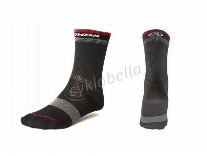 Ponožky Stripe X0 L 41-44 (černá/šedá/červená)