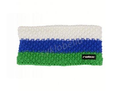 Zimní čelenka Relax STRIPY zelená, modrá, bílá RKH116B