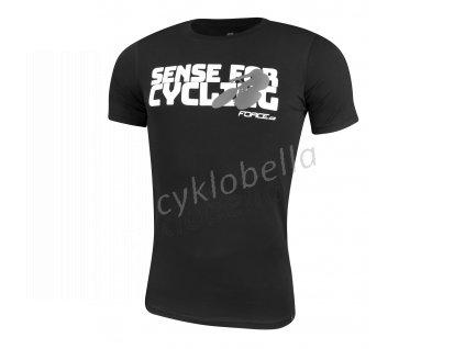 triko FORCE SENSE krátký rukáv,černé,bílý tisk L