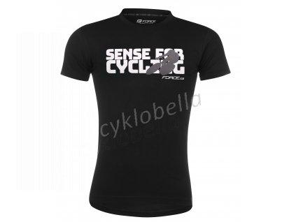 triko FORCE SENSE krátký rukáv,černé,bílý tisk XL