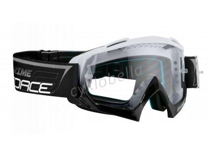 brýle FORCE GRIME sjezdové bílo-černé, čiré sklo