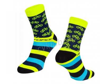 ponožky FORCE CYCLE, žluté L-XL/42-46