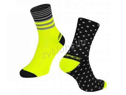 ponožky FORCE SPOT, černo-fluo L-XL/42-46