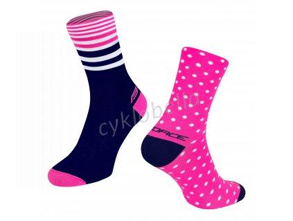 ponožky FORCE SPOT, růž.-modré L-XL/42-46