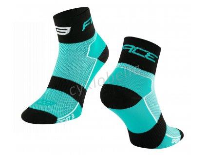 ponožky FORCE SPORT 3, tyrkysovo-černé S-M/36-41