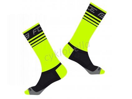 ponožky FORCE STAGE, fluo-černé L-XL/42-46