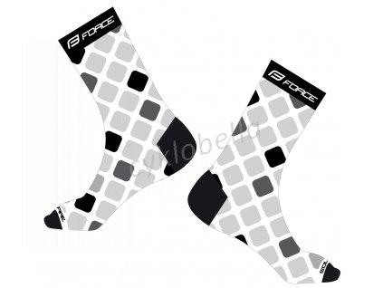 ponožky FORCE SQUARE, bílo-černé L-XL/42-46