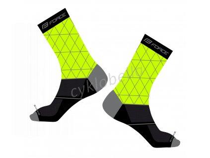 ponožky FORCE EVOKE, fluo-černé L-XL/42-46