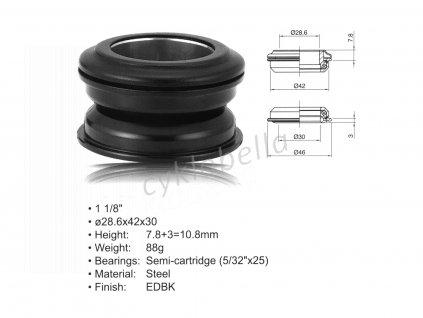 """Hlavové složení ACO-HS24 Internal (1 1/8""""; d:28.6/ 42/ 30mm) (černá)"""
