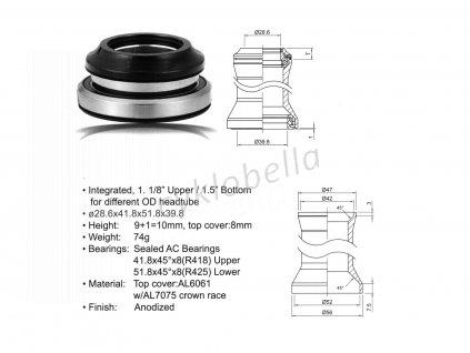 Hlavové složení ACO-HS40 Integrated (28.6/ 41.8/ 51.8/ 39.8mm) (černá)