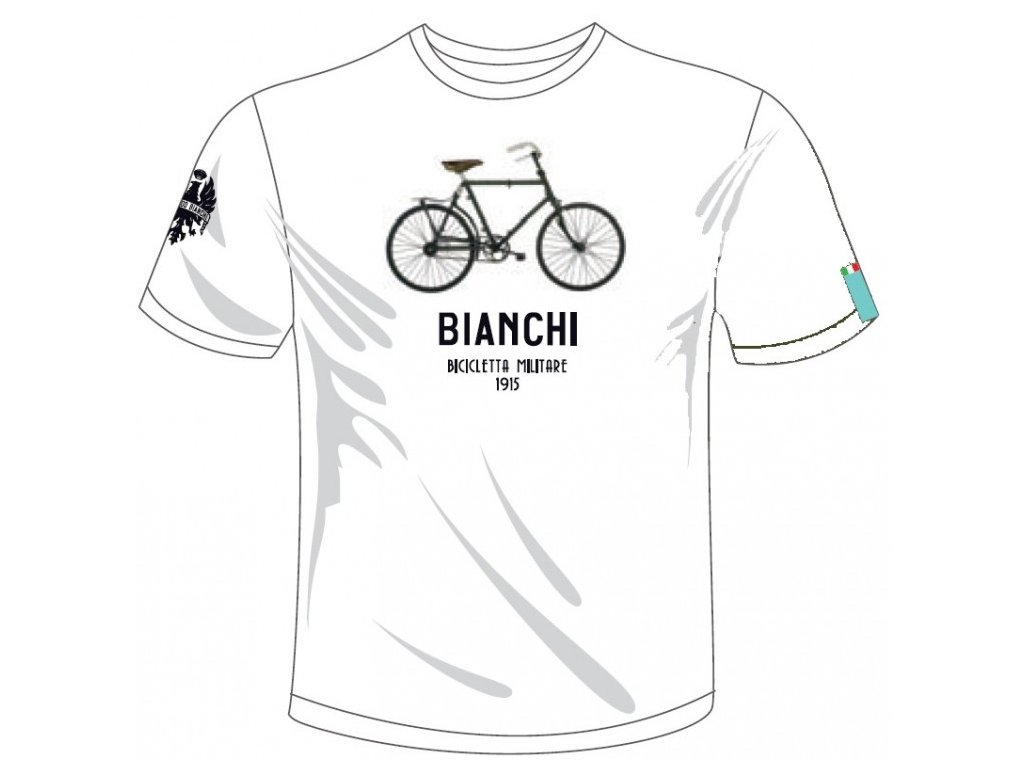 Bianchi T-Shirt - Military Bike bílé