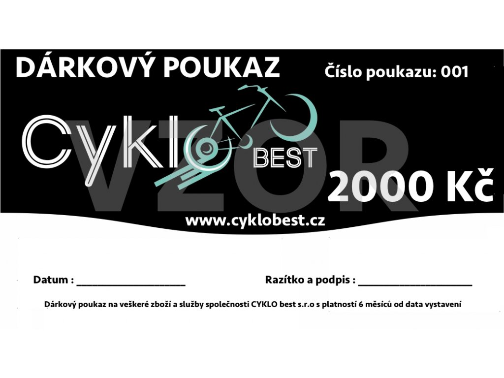 Dárkový poukaz Cyklobest.cz 2000 Kč