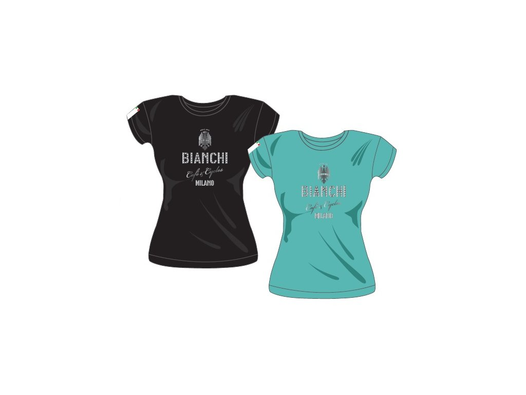 Tričko Bianchi Caffe Cycles dámské - černé