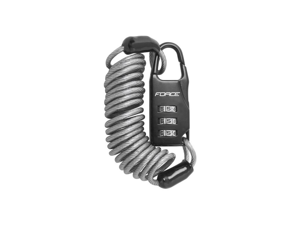 Zámek F SMALL spirálový kódový 120cm/3mm, šedý