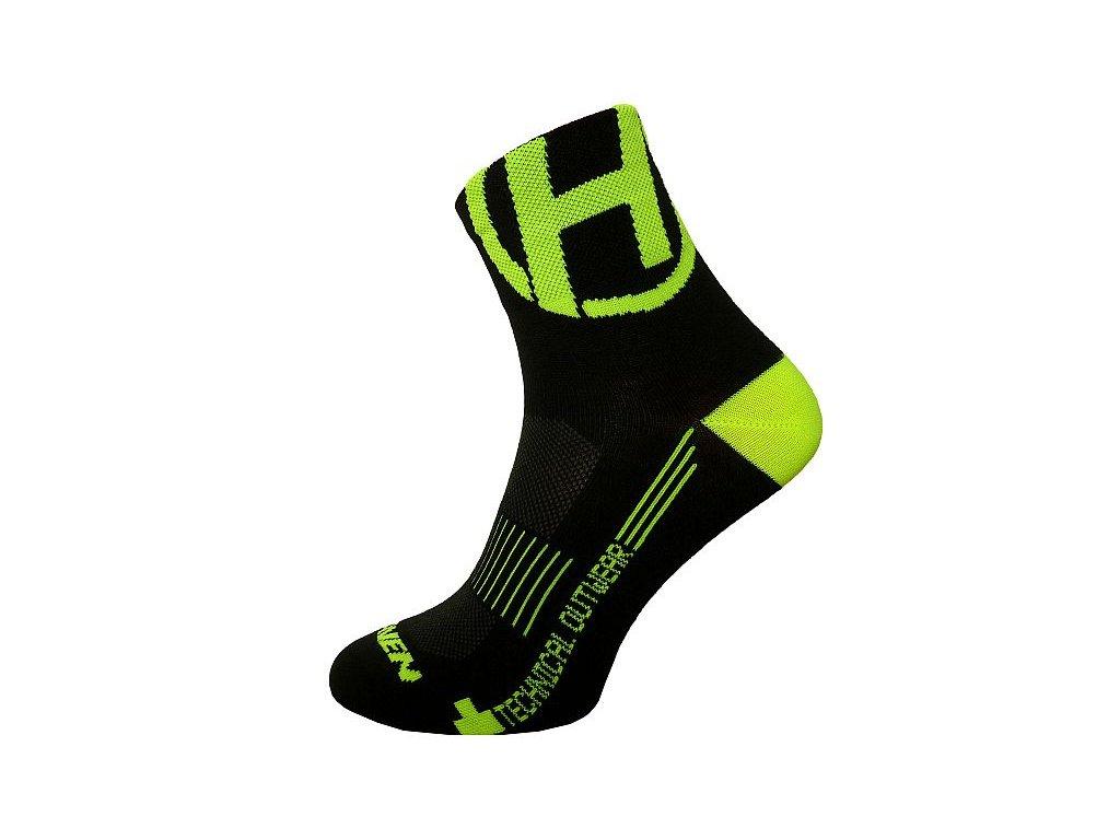 Ponožky HAVEN LITE Silver NEO black/yellow 2 páry
