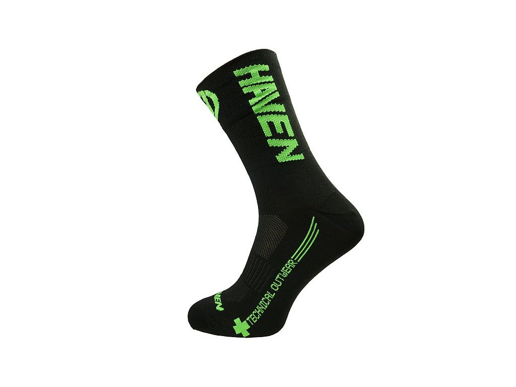 Ponožky HAVEN LITE Silver NEO LONG black/green 2 páry
