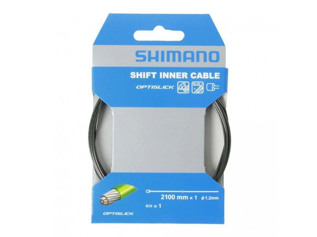 SHIMANO řadící lanko OPTISLICK 1,2 mm x 2100 mm vč. koncovky 1ks
