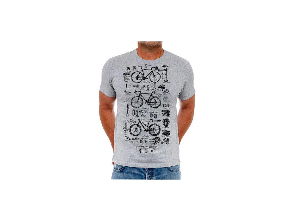 Triko Cycology Bike Maths - šedé