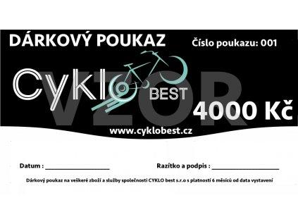Dárkový poukaz Cyklobest.cz 4000 Kč