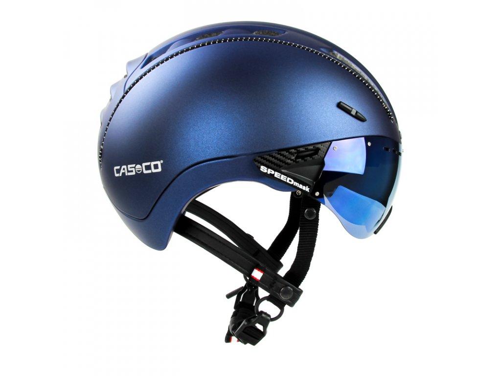 prilba CASCO ROADSTER Plus metalická modrá so štítom S-M 55-