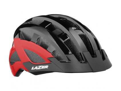 cyklistická přilba LAZER Compact DLX CE-CPSC/ černo červená uni + net + led