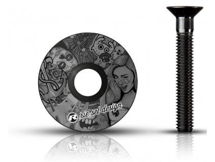 vicko hlavovky Riesel design stemcap stickerbomb ultra black 1