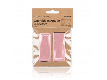 Magnetická Odrazka Bookman Clip on Reflectors pro chodce růžová