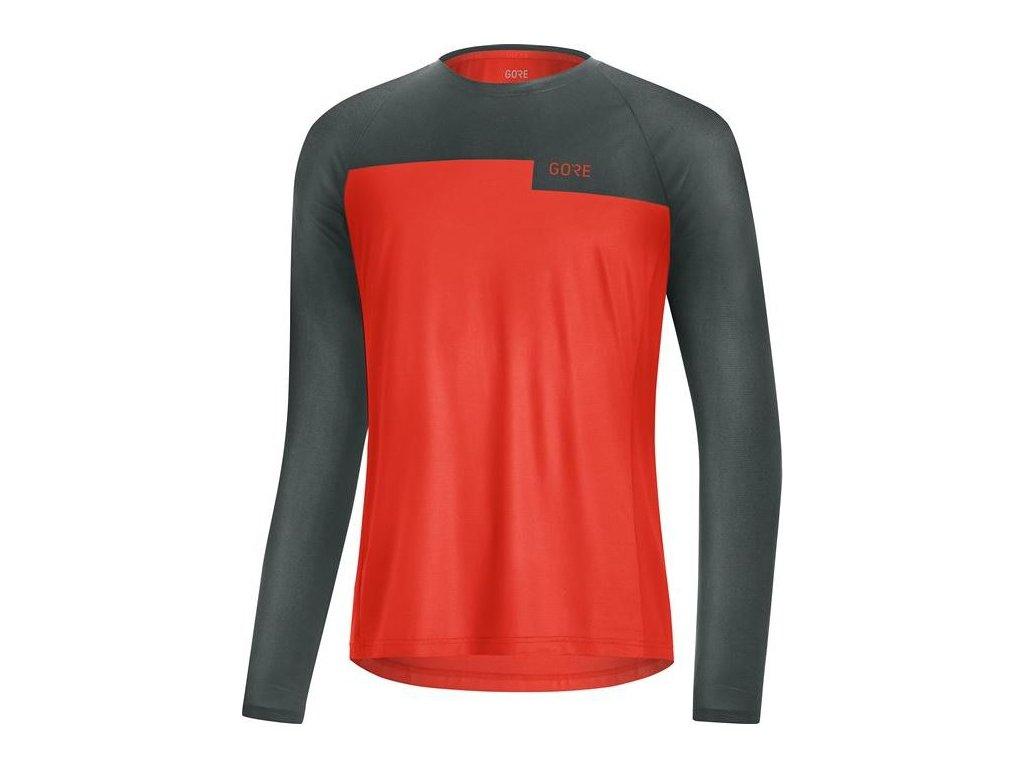 GORE Wear Trail LS Shirt Mens-fireball/urban grey-M
