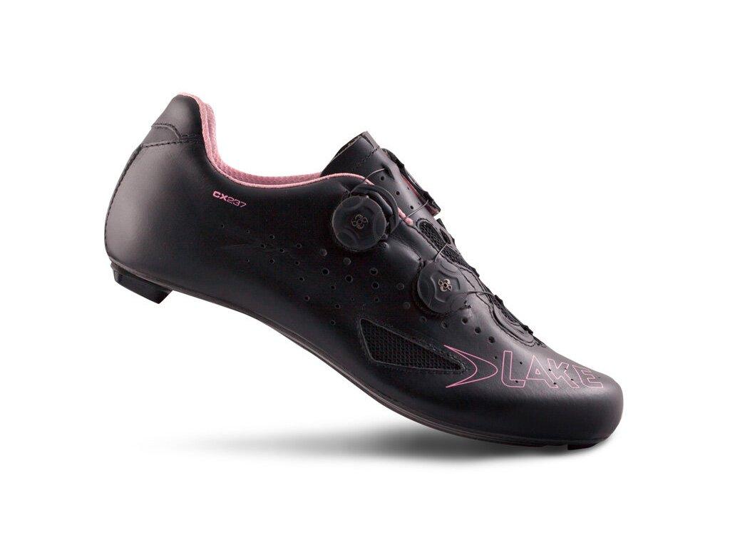 Tretry LAKE CX237 Carbon černo/růžové