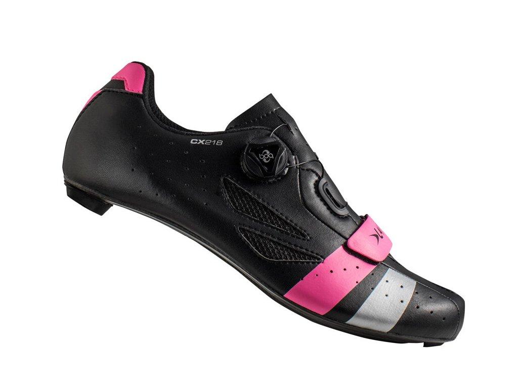 Tretry LAKE CX218 Carbon černo/růžovo/stříbrné