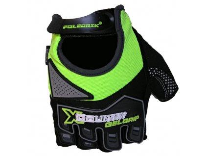 rukavice X-country černo-zelené fluo vel.S