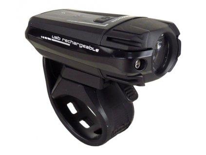 světlo přední MOON METEOR 250 1LED USB černé 250lm
