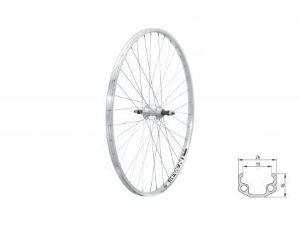 "Zapletené kolo zadní KLS EVENT V-brake R, 28"", silver"