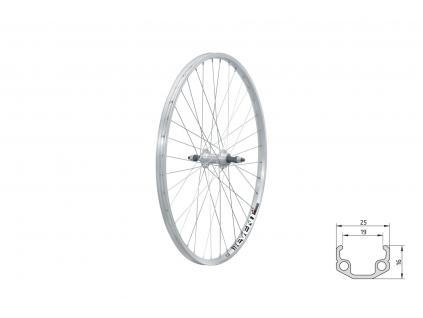 "Zapletené kolo zadní KLS EVENT V-brake R, 26"", silver"