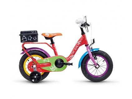 Dětské kolo S'COOL niXe chalk 12| Červená-zelená