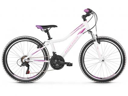 """KROSS LEA JR 1.0 SR 2021 24"""" (white/pink/violet)   Dětské kolo"""