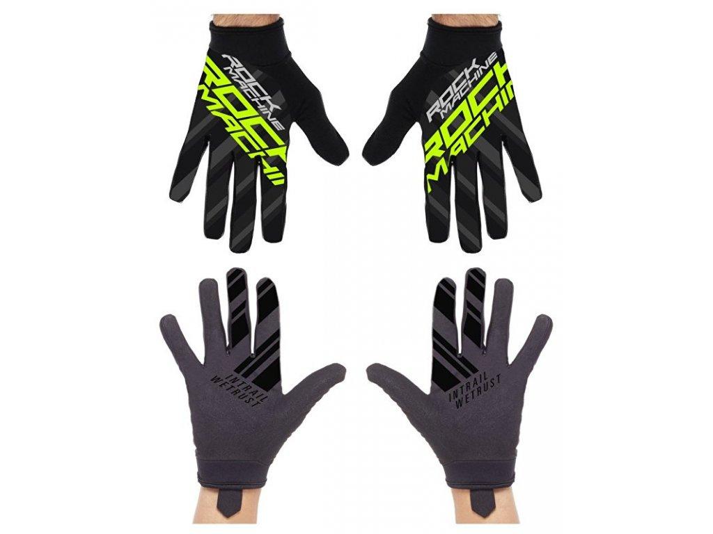 Rock Machine dlouhoprsté rukavice Race, zelené, vel. S