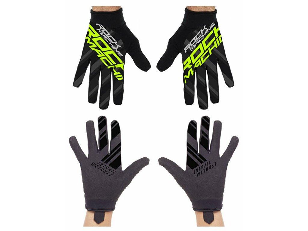 Rock Machine dlouhoprsté rukavice Race, zelené, vel. L