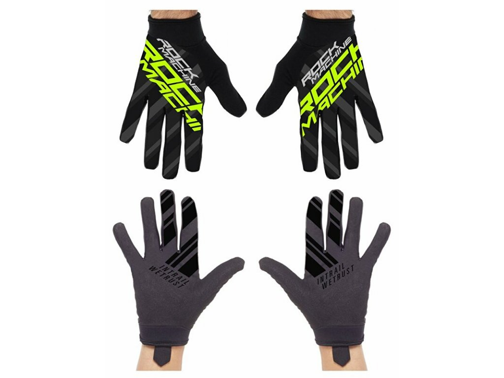 Rock Machine dlouhoprsté rukavice Race, zelené, vel. XL