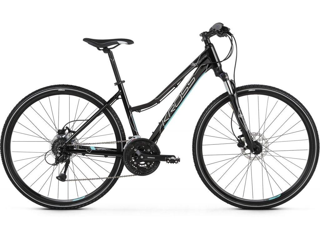 Trekové / krosové kolo Kross EVADO 5.0 LADY - black/turquoise - model 2021   CykloWorld.eu